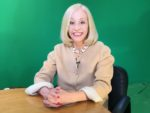 Susan Allan in studio with green screen